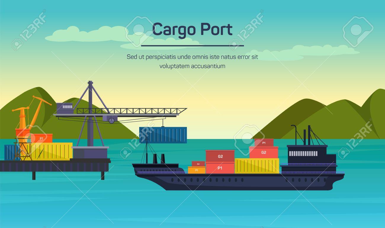Vector flat global transportation concept illustration. Cargo ships in harbor. - 42151120