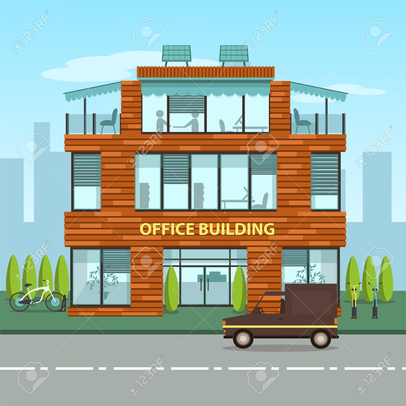 exterior office. Modern Office Building In Cartoon Flat Style. Interior And Exterior, Inside Outside Exterior