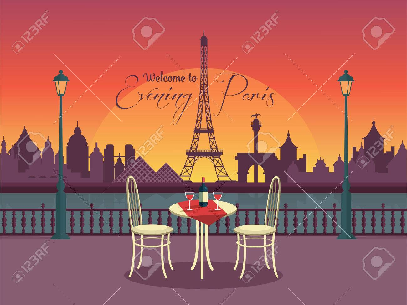 View of vector evening paris from the cafe - 42151409