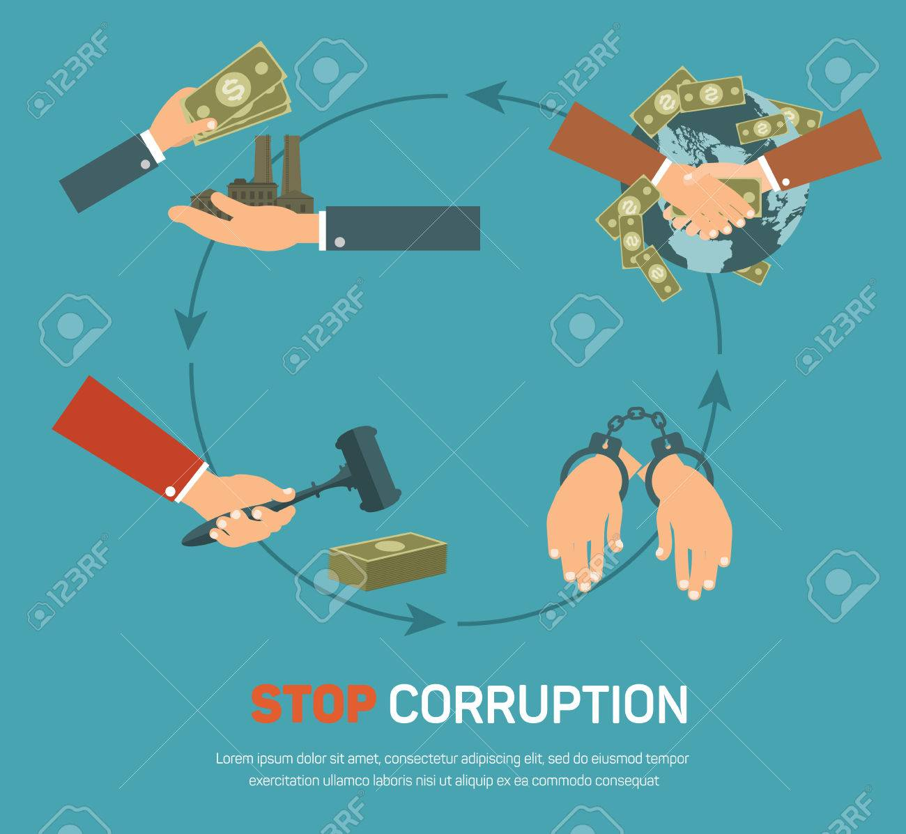Corruption infographic banner set with corrupt business and politics flat elements isolated vector illustration - 44852863