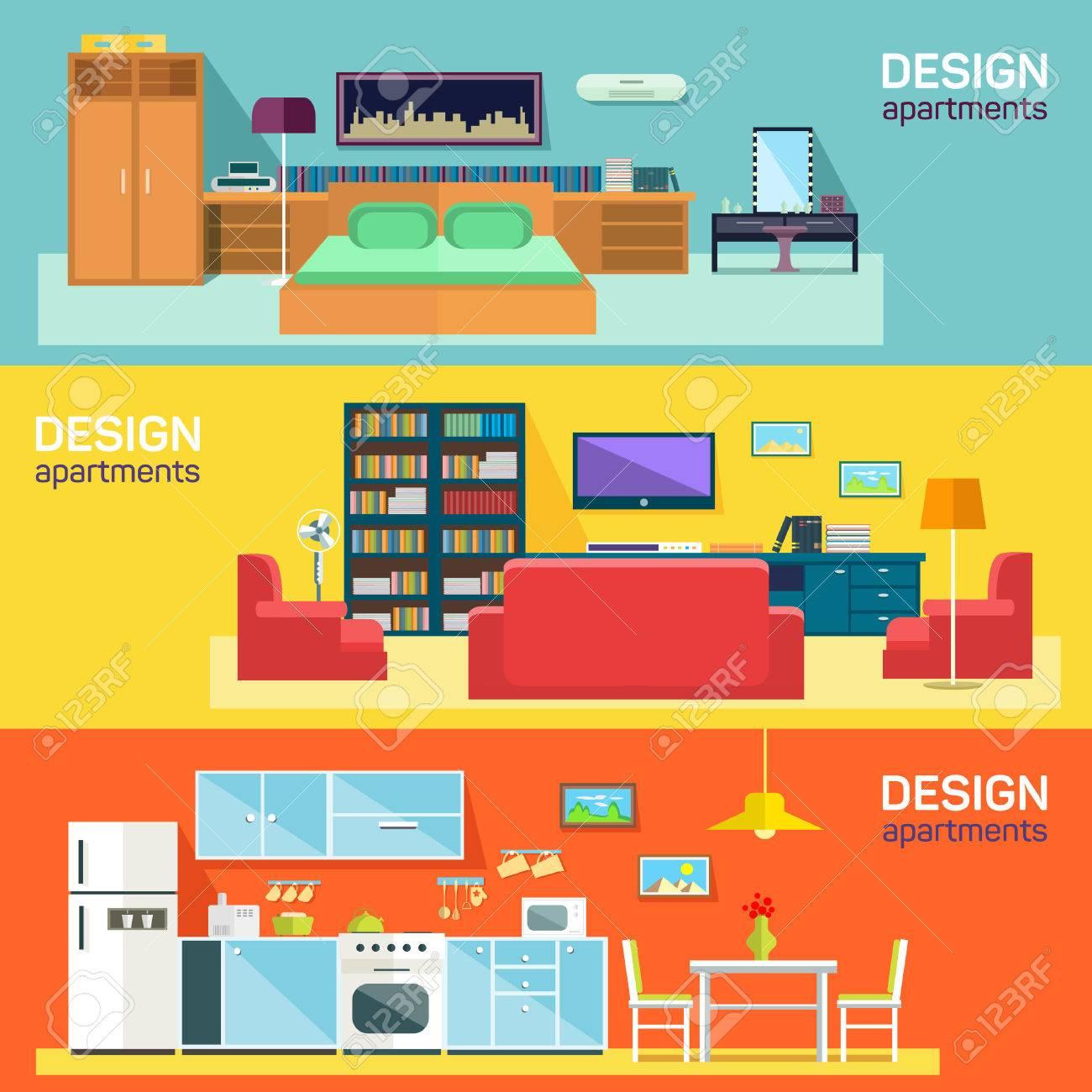 Standard Bild   Startseite Interior Design Für Küche Bett Und Wohnzimmer  Möblierung Flach Banner Gesetzt Abstrakten Isolierten Vektor Illustration