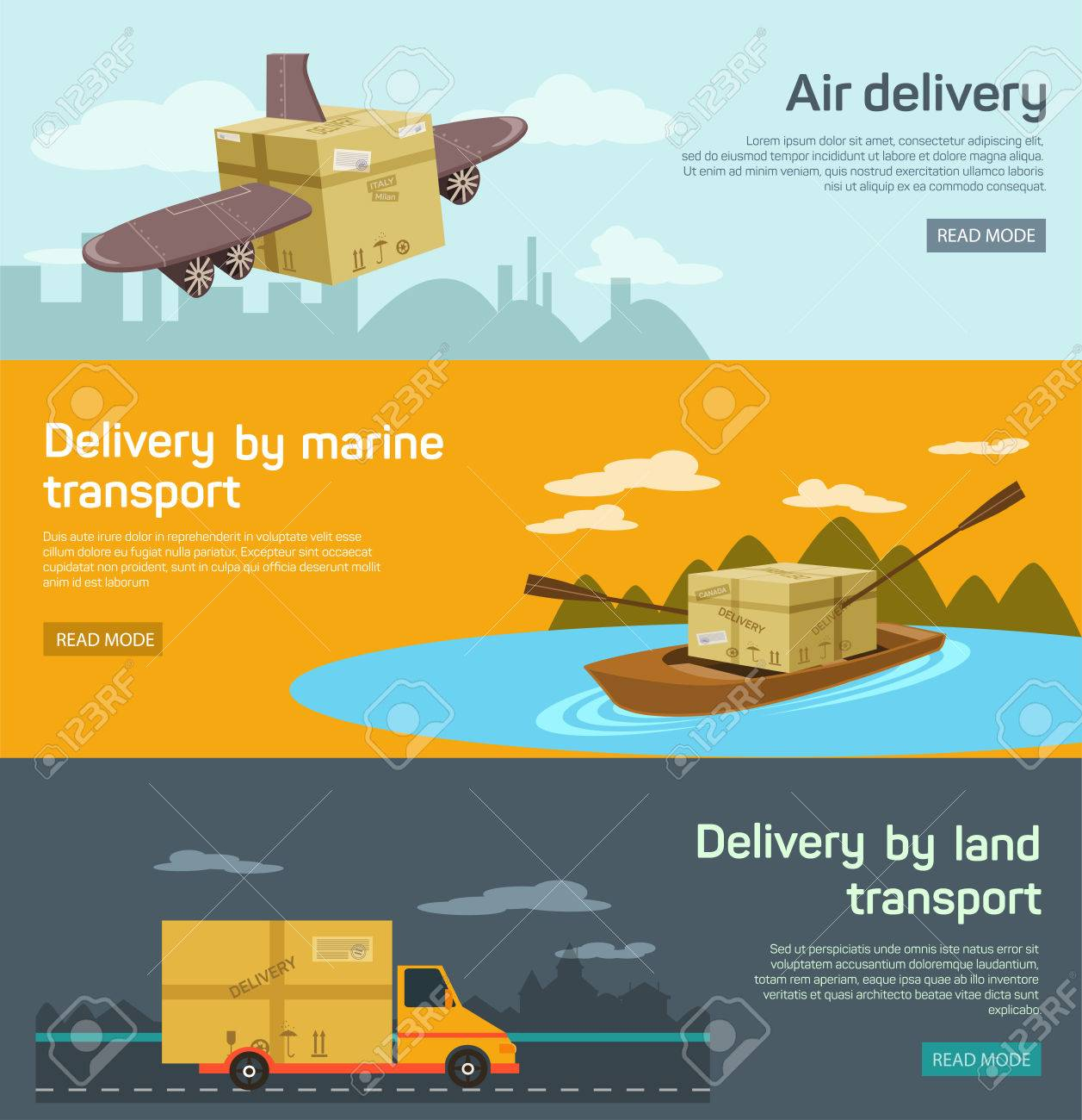 Logistic concept flat banners set of maritime rail and air transport