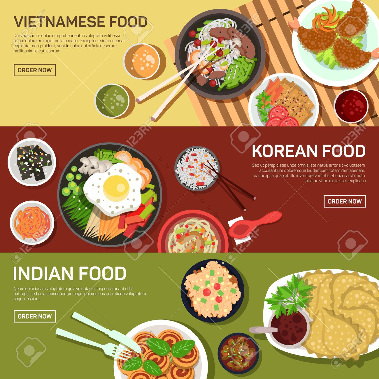 Asian street food web banner , thai food , japanese food , chinese food flat design Stock Vector - 45890087
