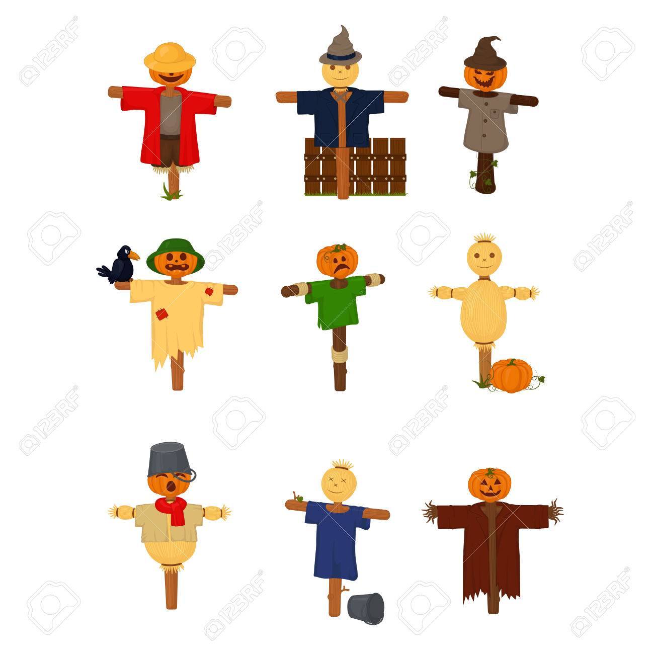 Set of cartoon style scarecrow isolated, vector - 48760394
