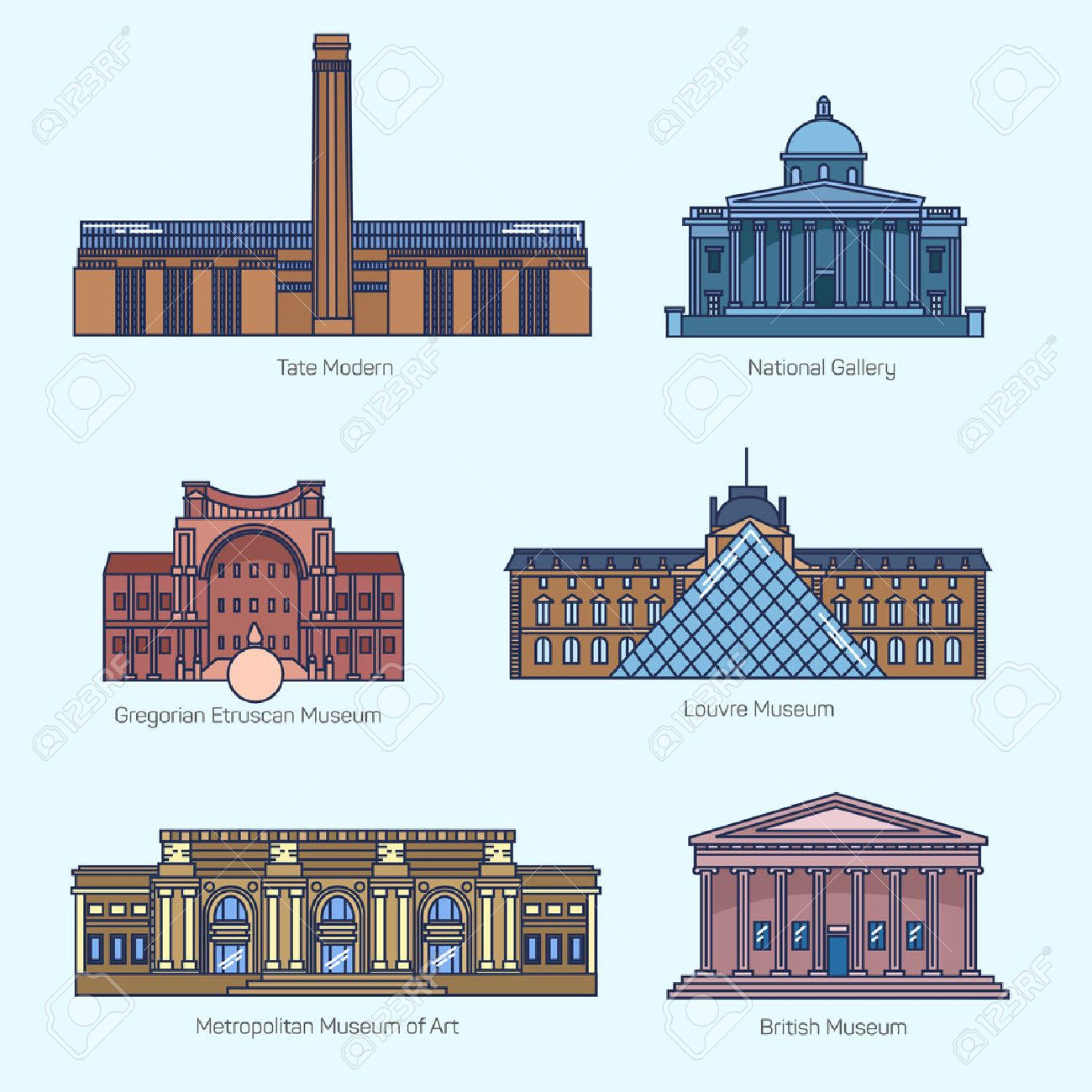 24 972 museum cliparts stock vector and royalty free museum museum monuments thin line vector icons tate modern national gallery gregorian etruscan