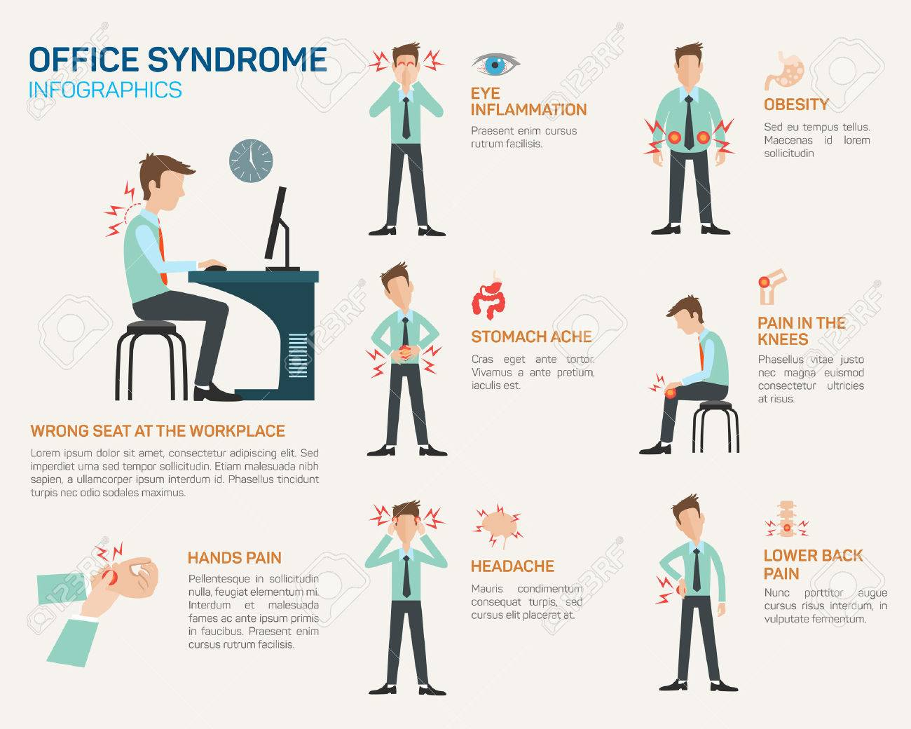Vector flat illustration for office syndrome. Wrong sitting in the workplace. Eyes inflammation, obesity, stomach ache, knees pain, headache, hands pain, lower back pain. - 48761132