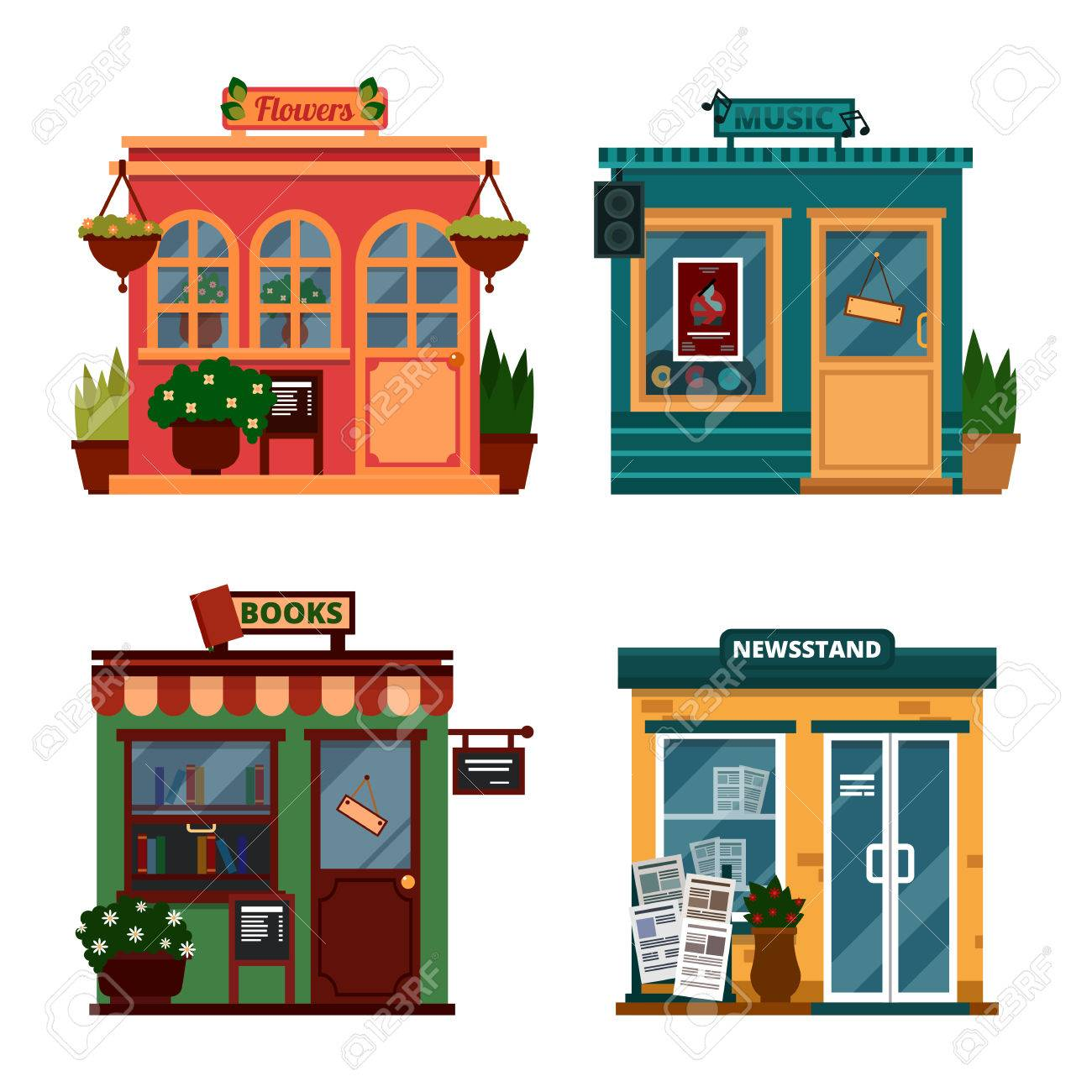 Vector illustration of buildings that are shops for buying decorations and leisure accessories. Set of nice flat shops. Different Showcases - Flowers, music, books, newsstand with sound box. - 52693705