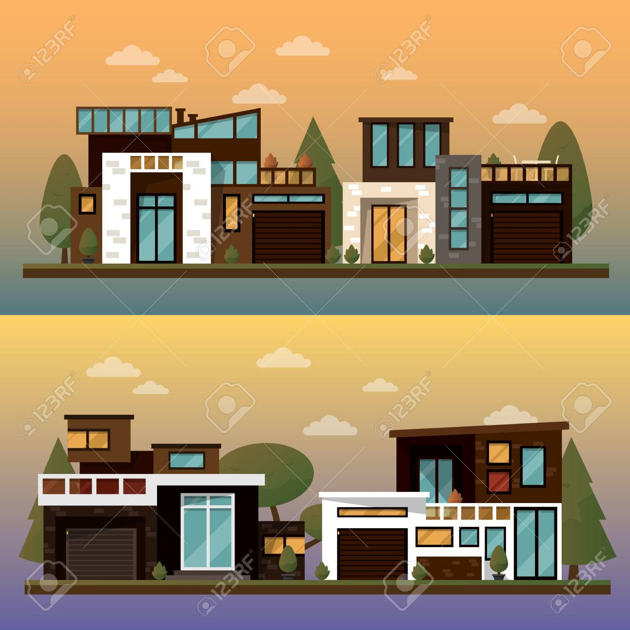 vector vector flat illustration of two family house and sweet home banners outdoor street private pavement backyard with garage