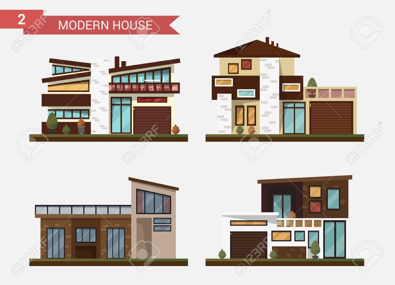 Vector   Vector Flat Illustration Traditional And Modern House. Family Home.  Office Building. Private Pavement, Backyard With Garage. Office  Architecture ...