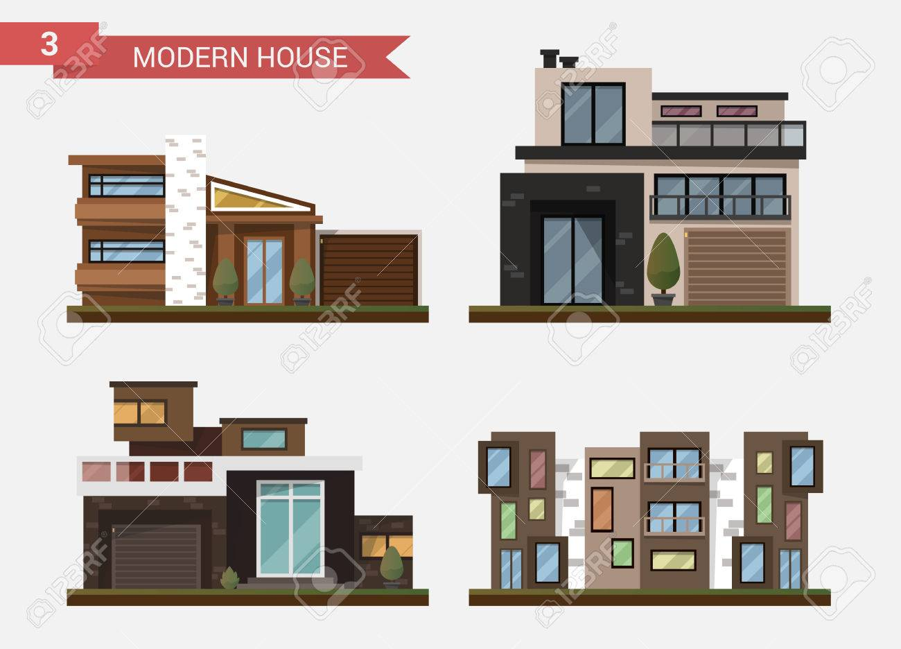 Vector Flat Illustration Traditional And Modern House. Family ...