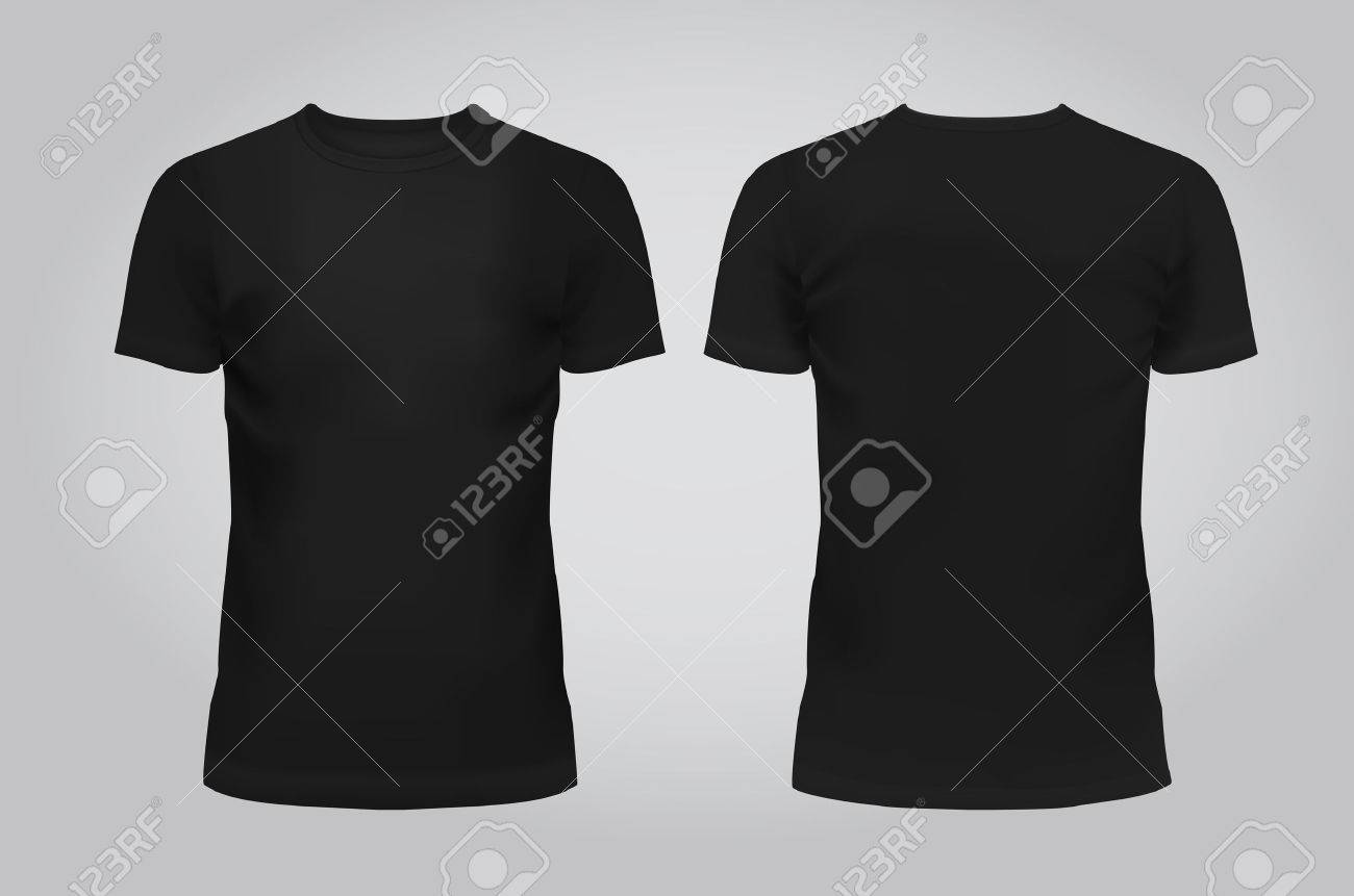 Vector illustration of design template black men T-shirt, front and back isolated on a light background. Contains gradient mesh elements. - 53297636