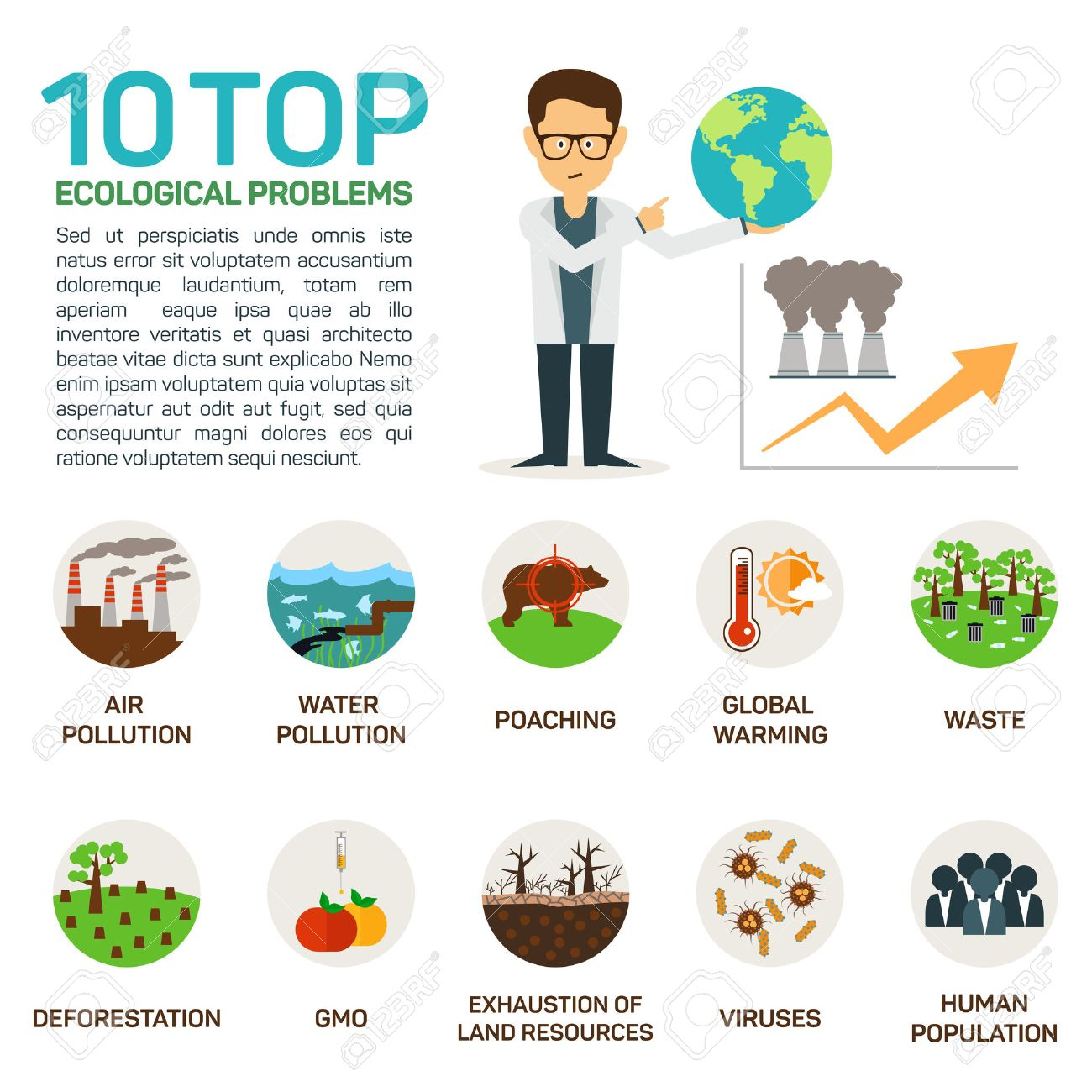 illustration of top 10 ecological problems. Air and water polution, poaching, global warming, deforestation, gmo, viruses, exhaustion, human population. - 54272281