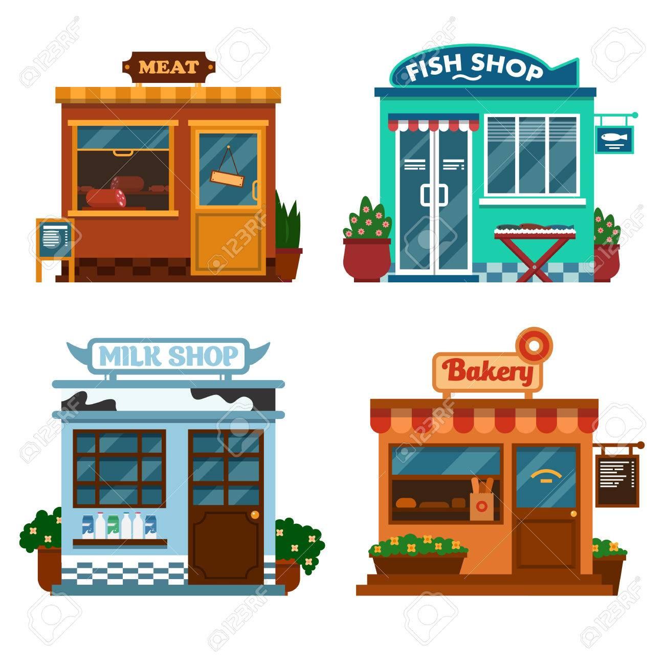 食べ物を買うためのショップにある建物のイラスト ミルクの肉や魚 パン屋さんのお店花と茂み のイラスト素材 ベクタ Image