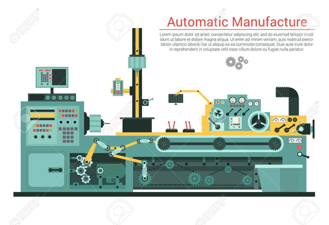 Vector flat illustration of complex engineering machine with pump, pipe, cable, cog wheel, transformation, rotating details. Industrial mechanical revolution of manufacturing equipment. - 57471207
