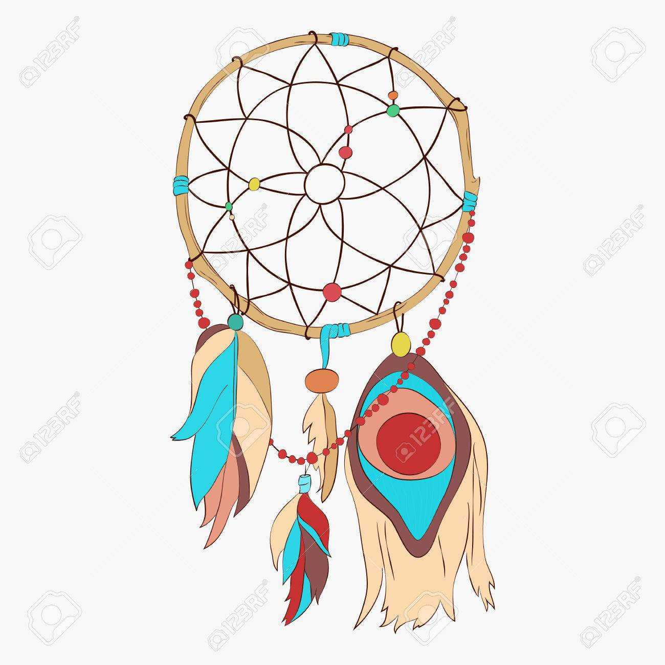 Magical dreamcatcher with sacred feathers to catch dreams pictogram icon abstract vector illustration. Dream catcher with indian vector feather. - 58703724