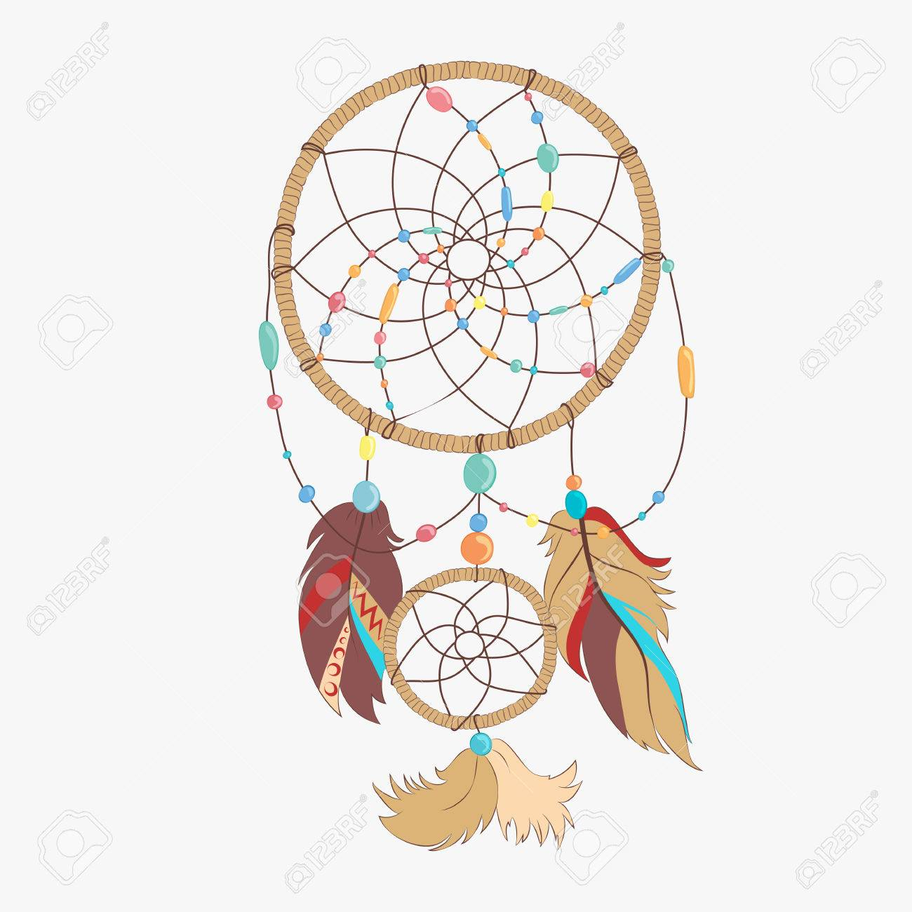 Vector dreamcatcher. Dream catcher with indian vector feather. Magical dreamcatcher with sacred feathers to catch dreams pictogram icon abstract vector illustration. - 58703729