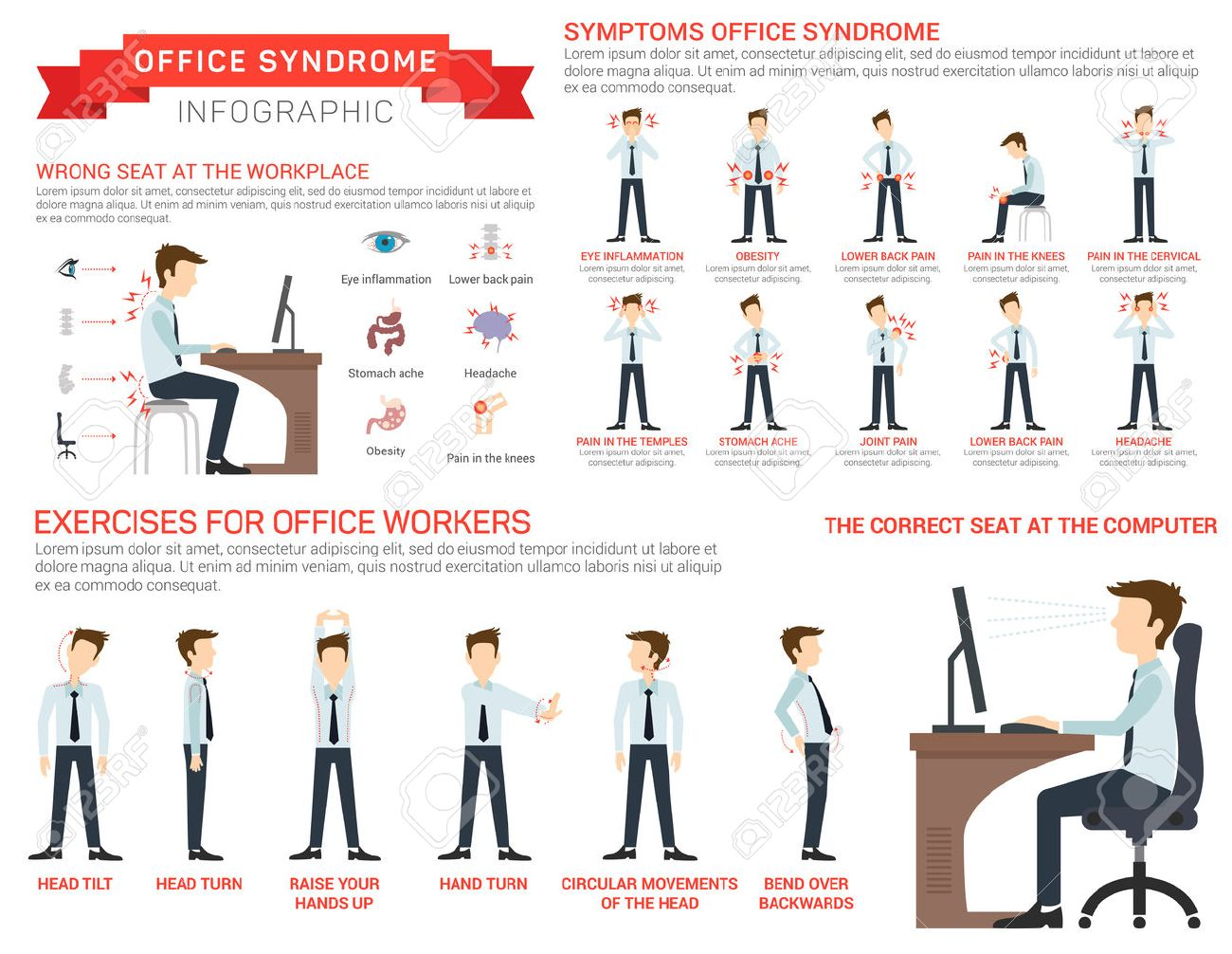 Vector flat illustration for office syndrome. Eyes inflammation, obesity, stomach ache, knees pain, headache, hands pain, lower back pain. Wrong sitting in the workplace. - 58703743