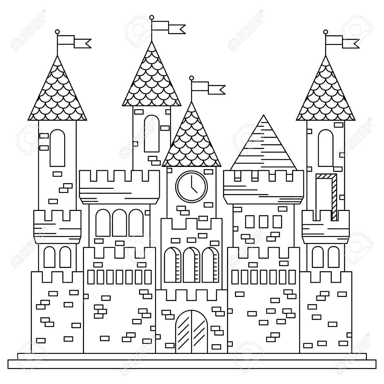 Fairytale Royal Thin Line Castle Or Palace Building With Various ...