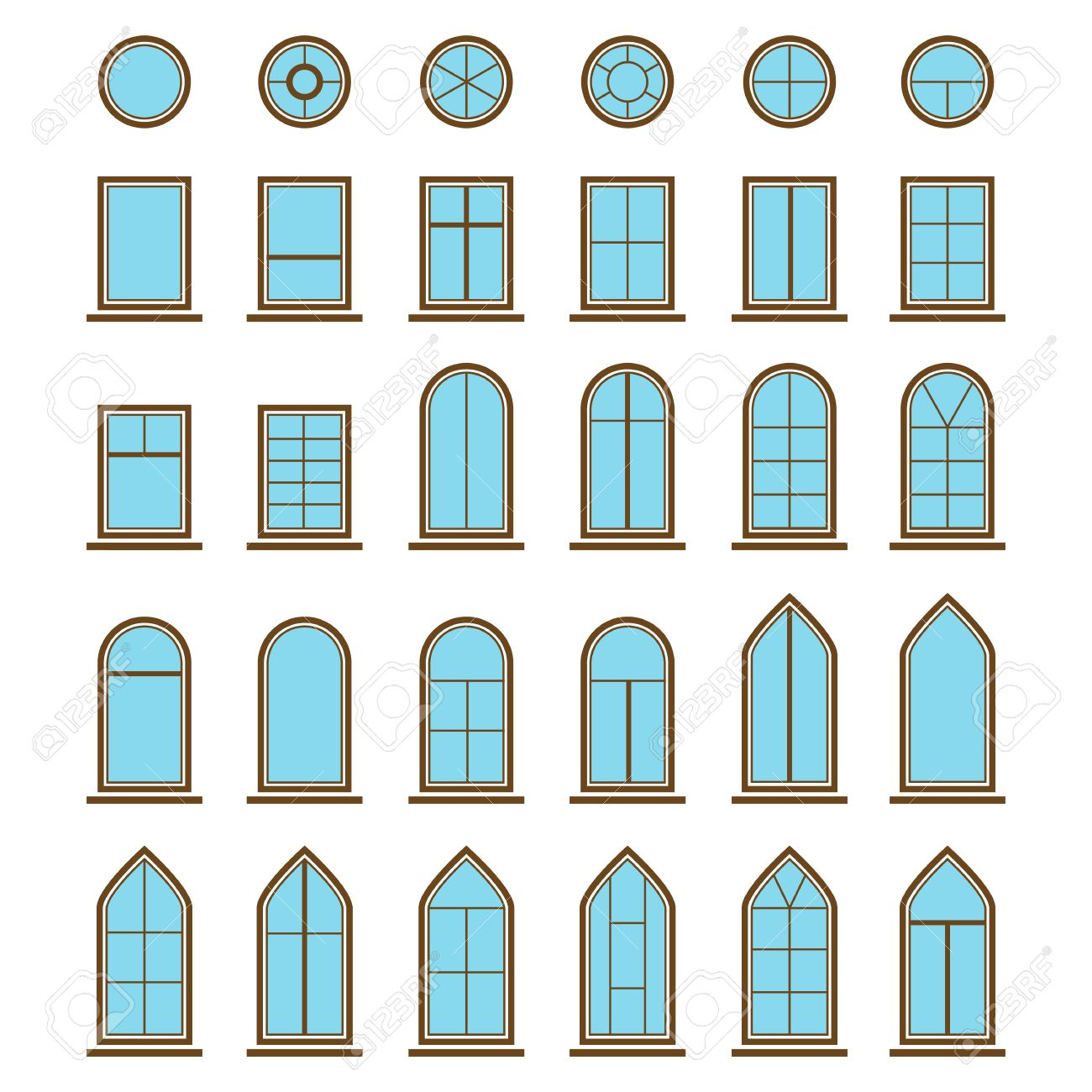 Window pane types - Set Of Different Icons Window And Windowpane Pane Types Like Eyebrow With Curved Top And