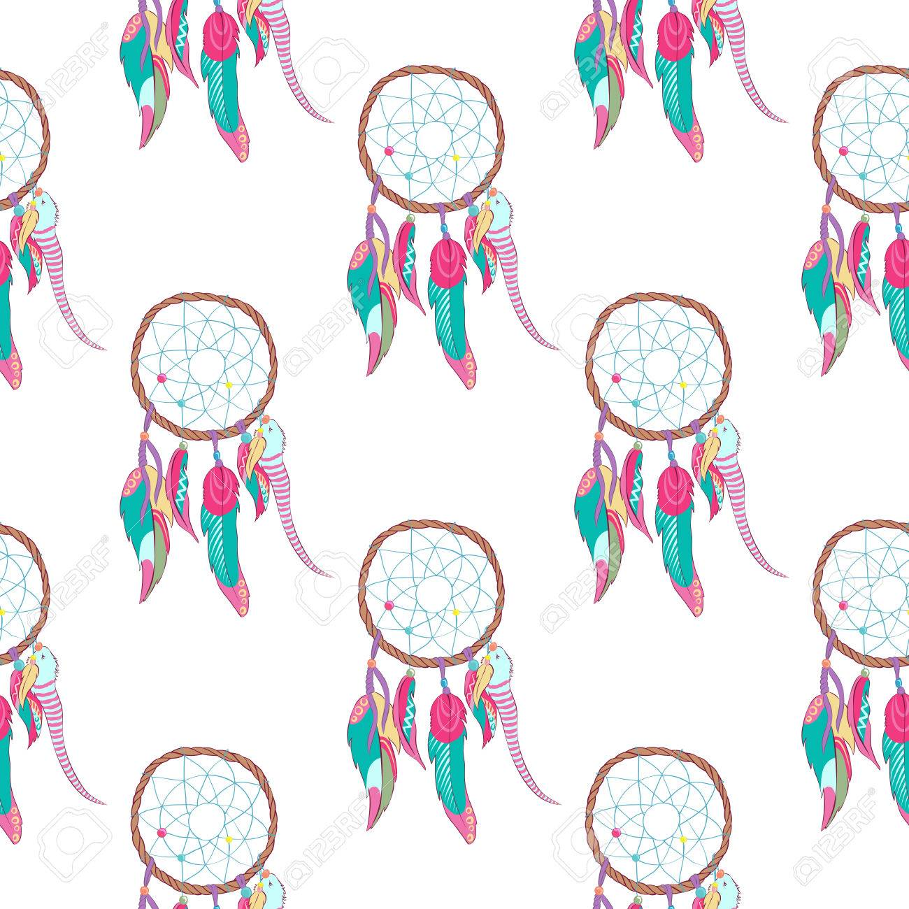 Traditional indian dreamcatcher seamless pattern tribal ojibwe traditional indian dreamcatcher seamless pattern tribal ojibwe magical totem for dream protection made of bird buycottarizona