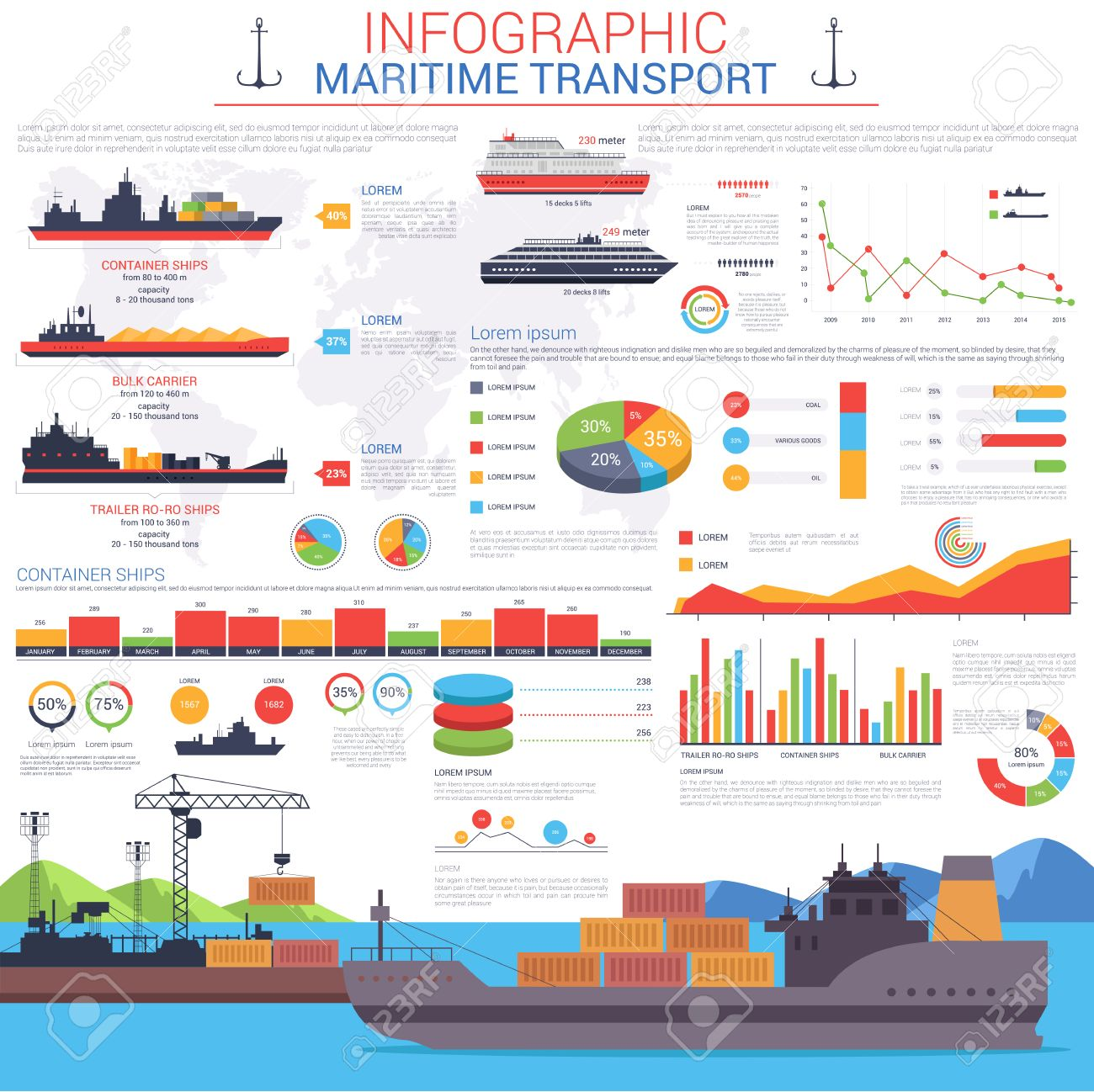 Maritime or nautical transportation infographic template. Ships with cargo or goods shipping containers to sea or ocean port or harbour visualization with linear and circle, bar charts - 58704155