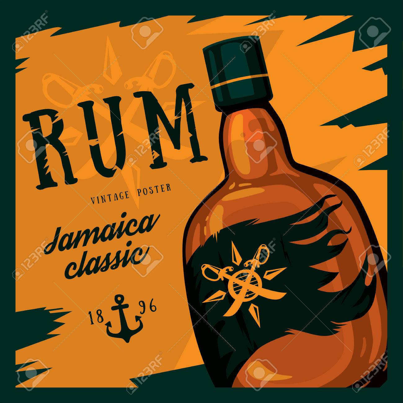Rum or rhum glass bottle with swords on compass and anchor retro or vintage, old looking poster. Jamaica classic alcohol beverage. Can be used for bars or restaurant advertising theme - 60019211