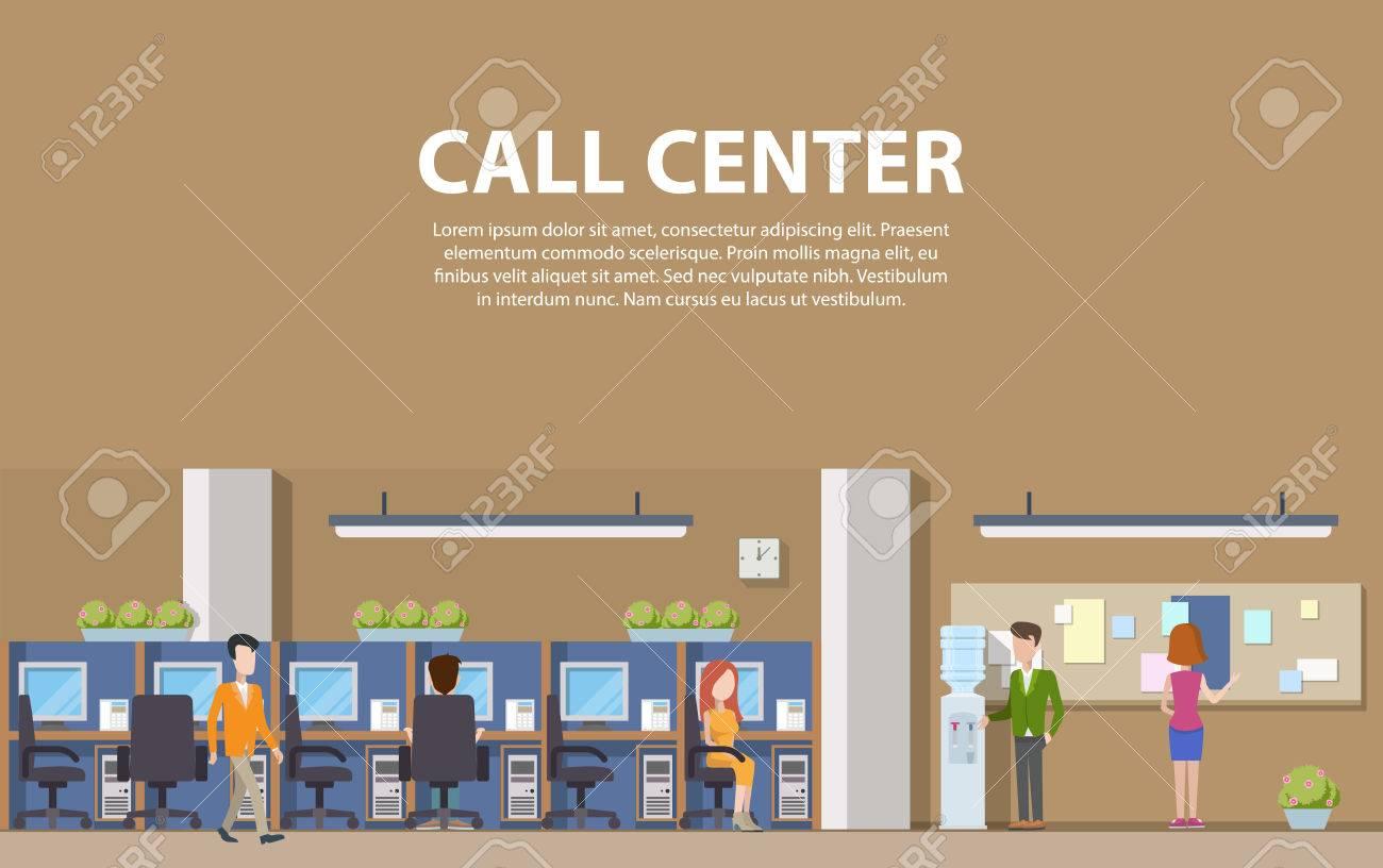 Call-Center-Interieur Mit Beratern Für Die Sozialhilfe Und Computer ...