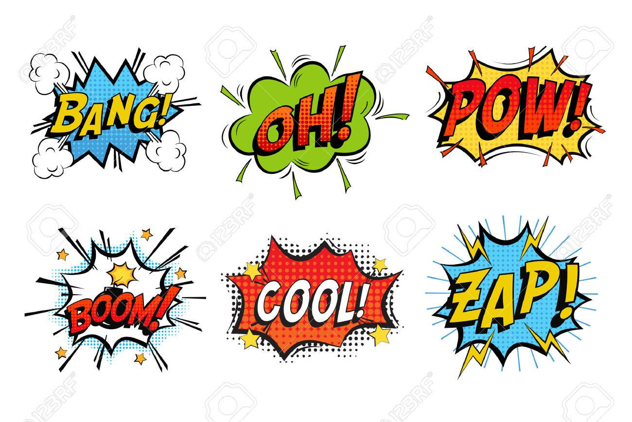 Emotions for comics speech like bang and cool, oh or ooh. Onomatopoeia clouds for explosions like boom, punches - pow, cool with stars and zap with lightning. For cartoons and speak dialogs - 64323454