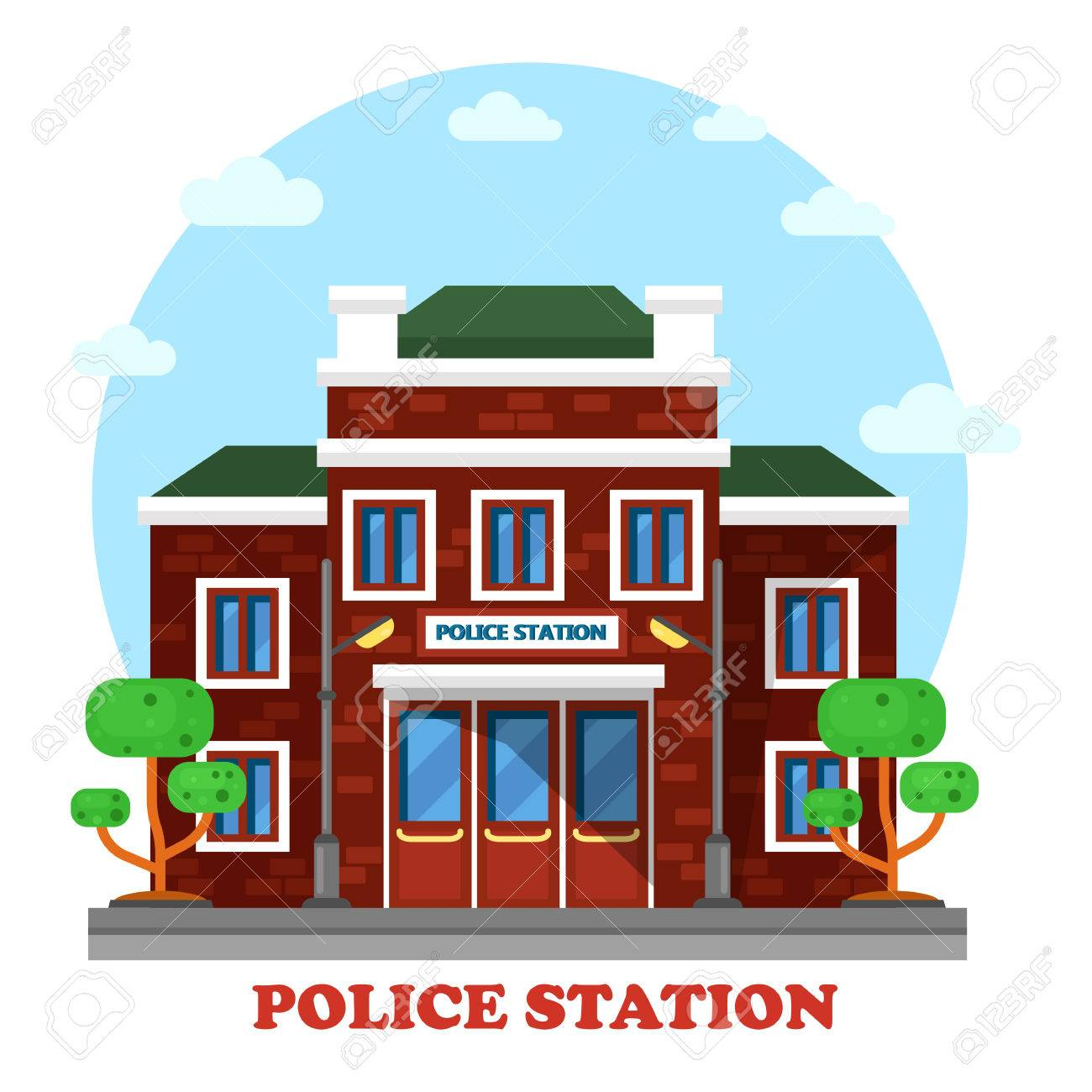 Police station clipart  Outdoor Exterior View On Police Station Building. Municipal ...