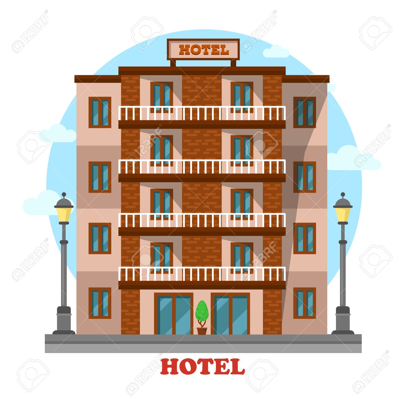 Hotel Or Motel Skyscraper Hostel Building Exterior View