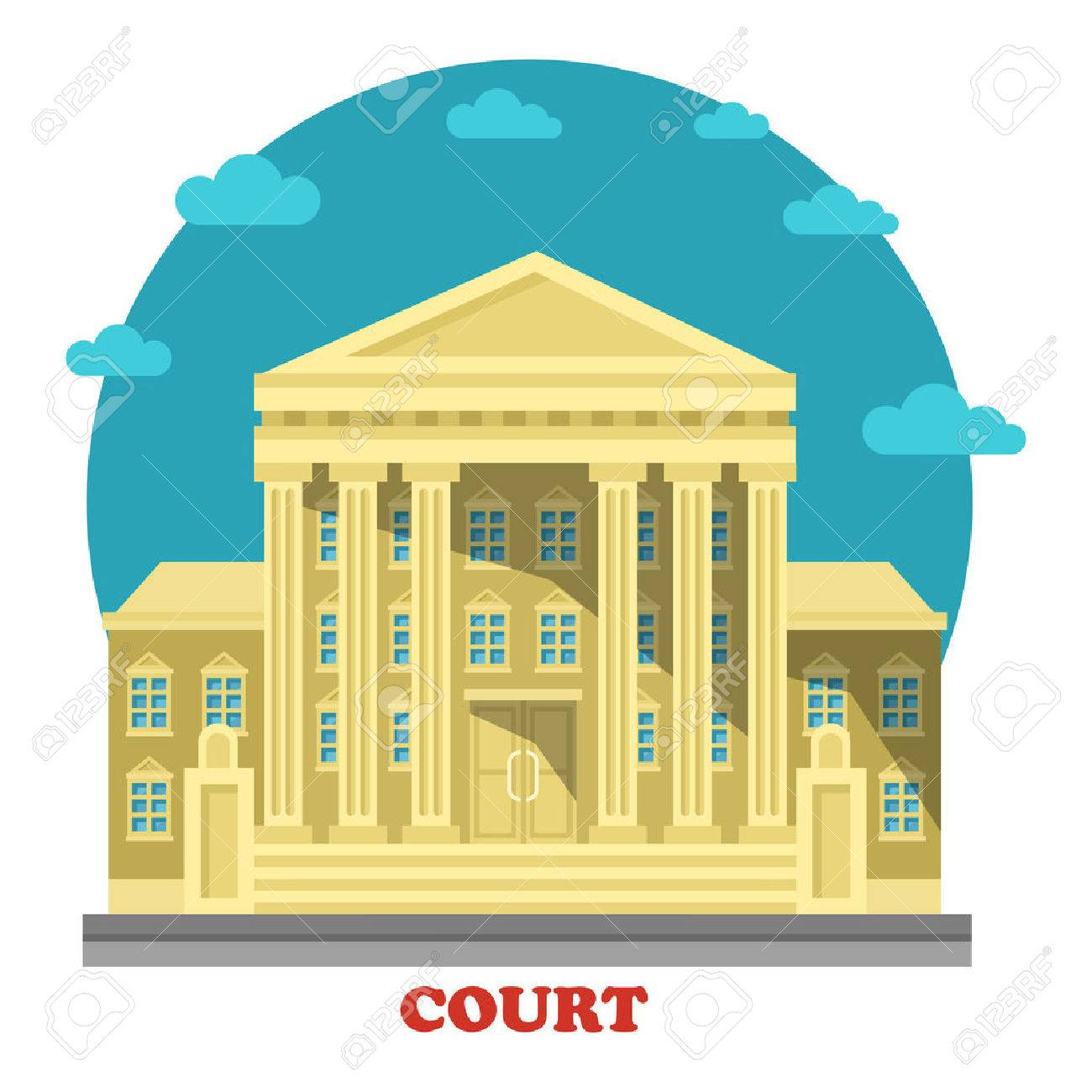 Court or tribunal, courthouse entrance exterior view. Building for justice and civil or common, administrative law, crime punishment and trials. Can be used for government or architecture theme - 64323137