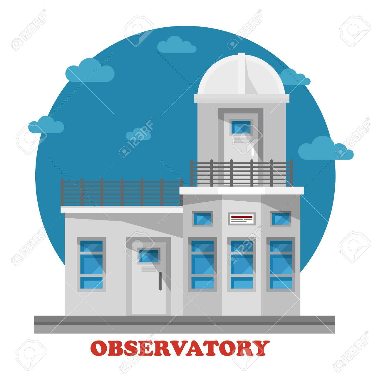 天文台ドームの天体望遠鏡で夜建物します。空と宇宙、惑星や宇宙、銀河を観察するため使用ことができます正面外観のアーキテクチャです。プラネタリウム