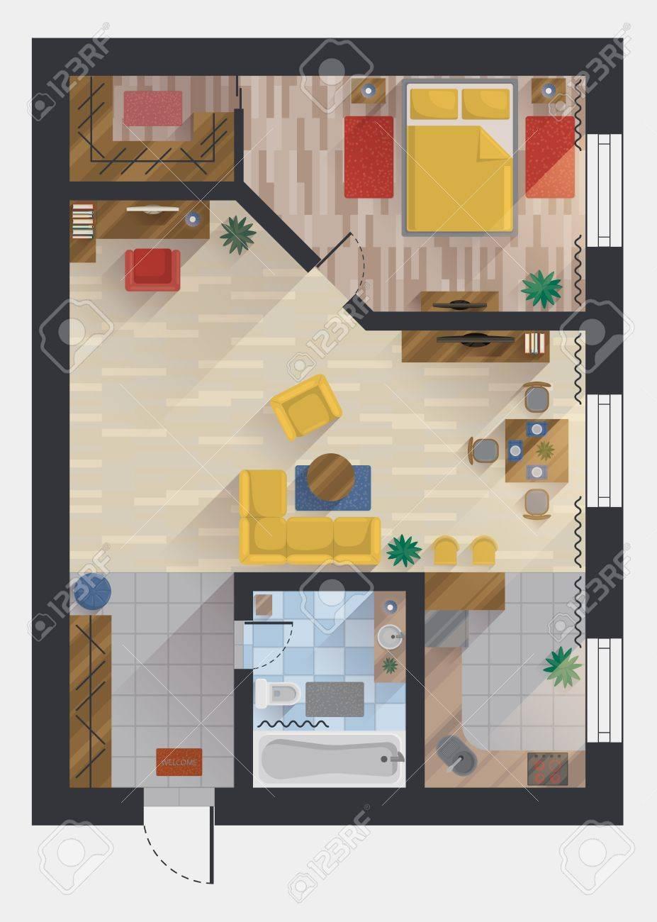 Wohnung oder wohnung haus oder grundrissgestaltung draufsicht planung oder der gestaltung studio und schlafzimmer
