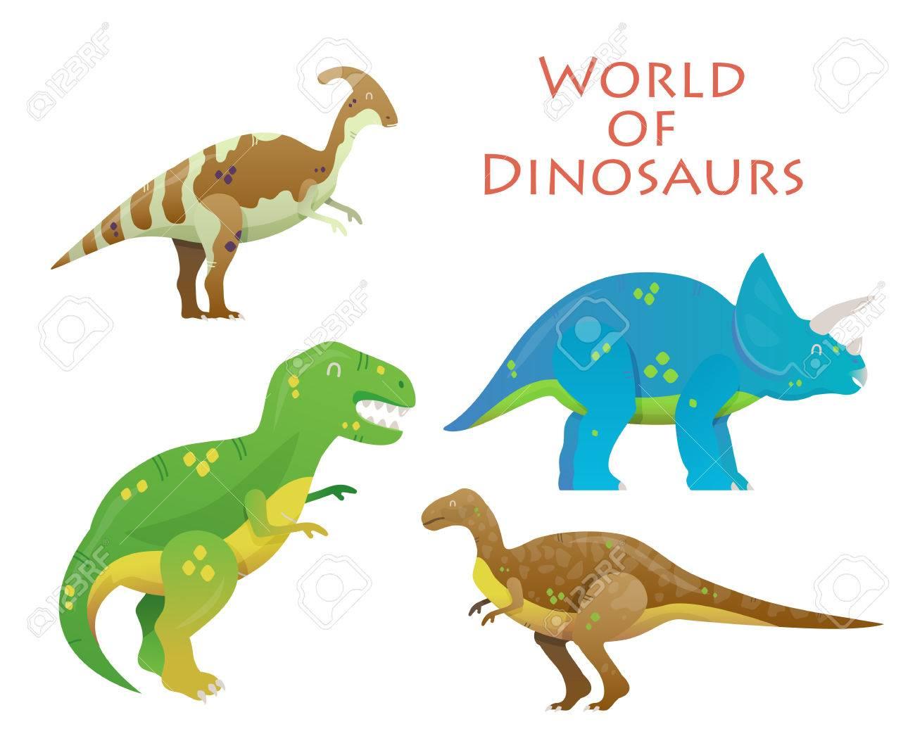 Dinosaurio De Dibujos Animados O Animal Reptil Dinosaurios