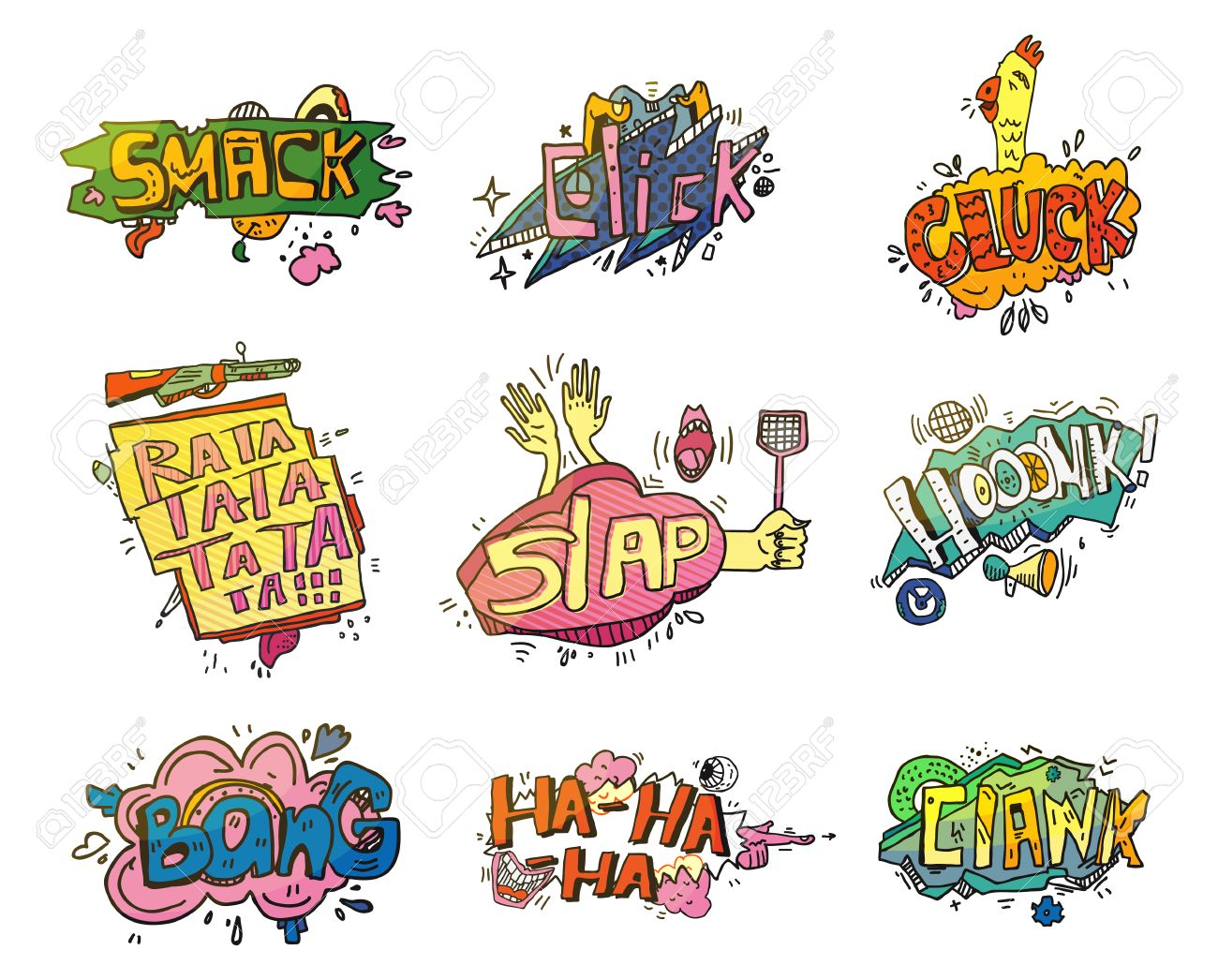 comic speech bubbles for sound exclamation set of onomatopoeia