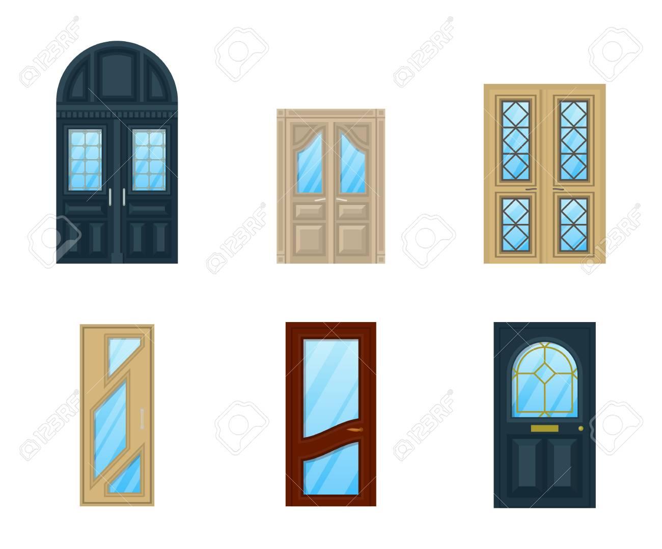Conjunto De Apartamentos De Diseño De Interiores Puertas. Icono ...