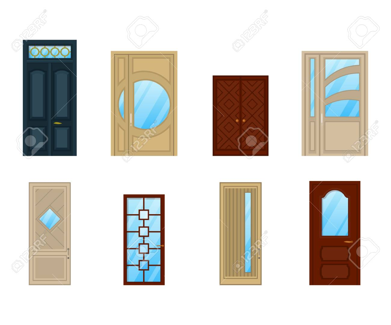 Conjunto De Puertas Con Vidrio O Diseño De Ventanas Arquitectura