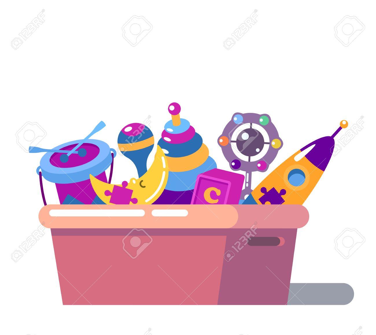 Geïsoleerde staande kinderen cartoon speelgoed doos. Raket en zitzak, rammelaar of maraca, trommel en maan, puzzelstuk speelgoed op de borst of doos.