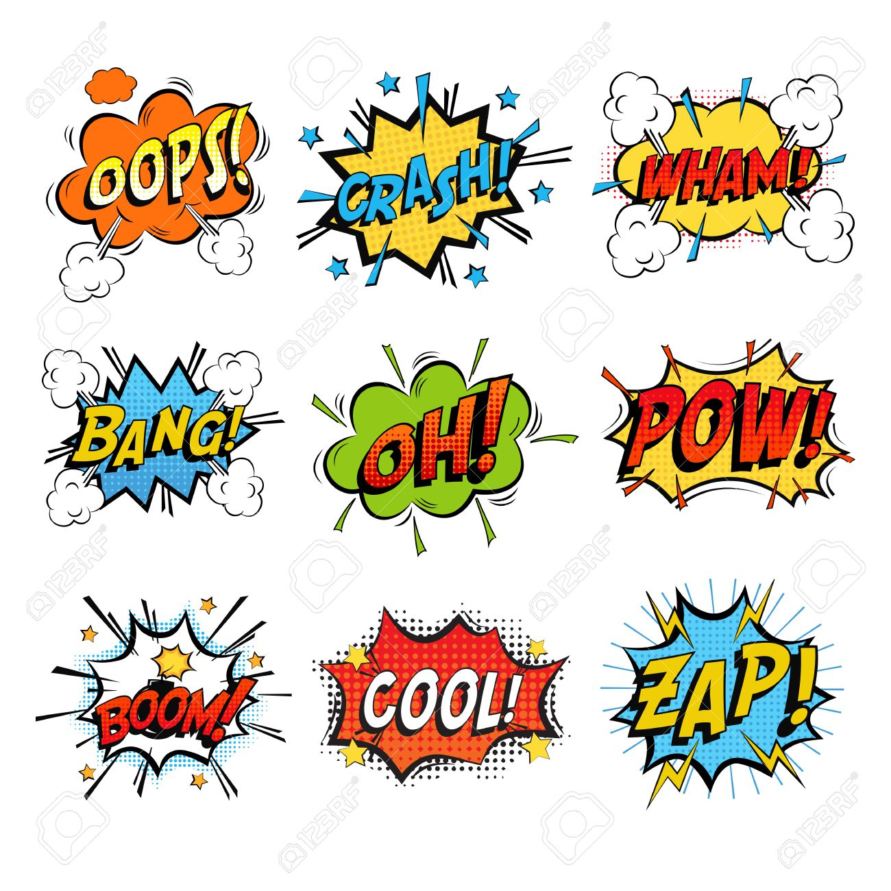 Set Of Bubble Or Bubbles Speech. Crash And Smash Bubble And Wham.. Royalty  Free Cliparts, Vectors, And Stock Illustration. Image 67151081.