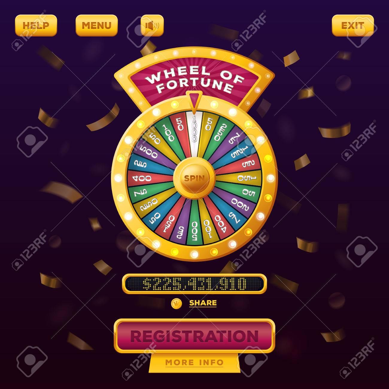 Casino menu web design with wheel of fortune - 70792863