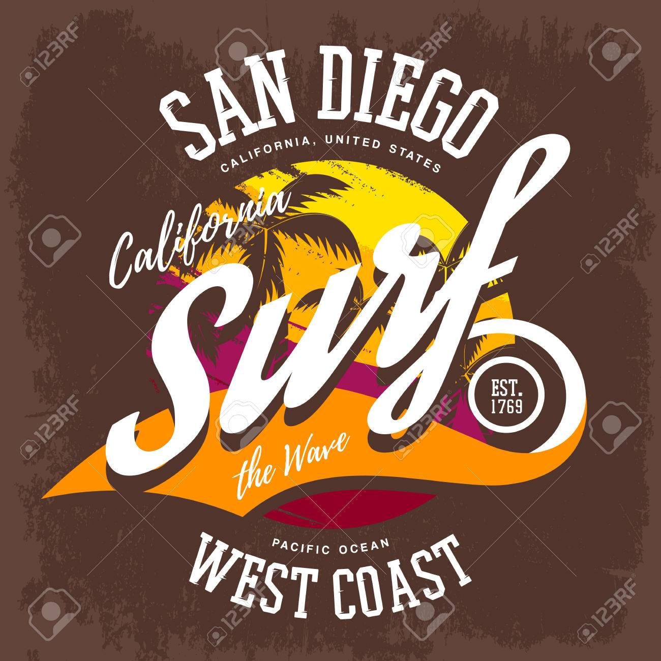 3befd9c48189a Palmas Como Emblema O Signo De La Playa De Surf. Marca De Ropa Deportiva E  Impresión De Tela Para Las Orillas De Los Ángeles