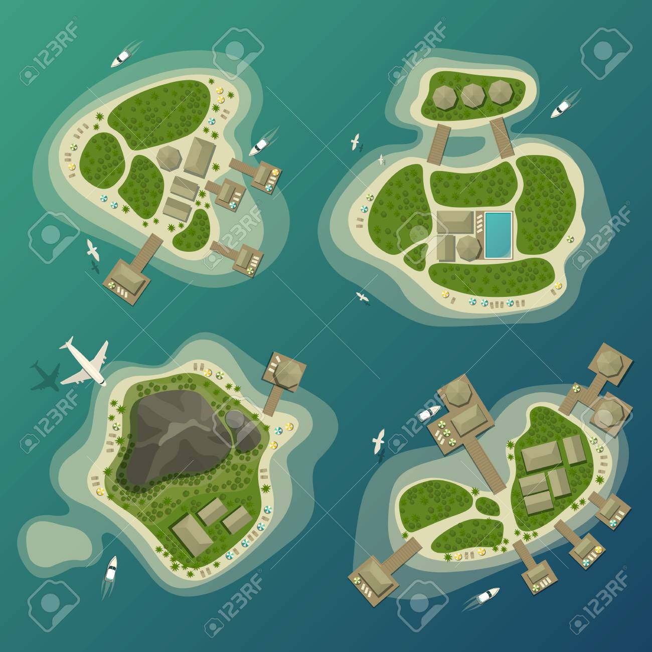Tropical islands top view, travel and tourism sign - 73891575