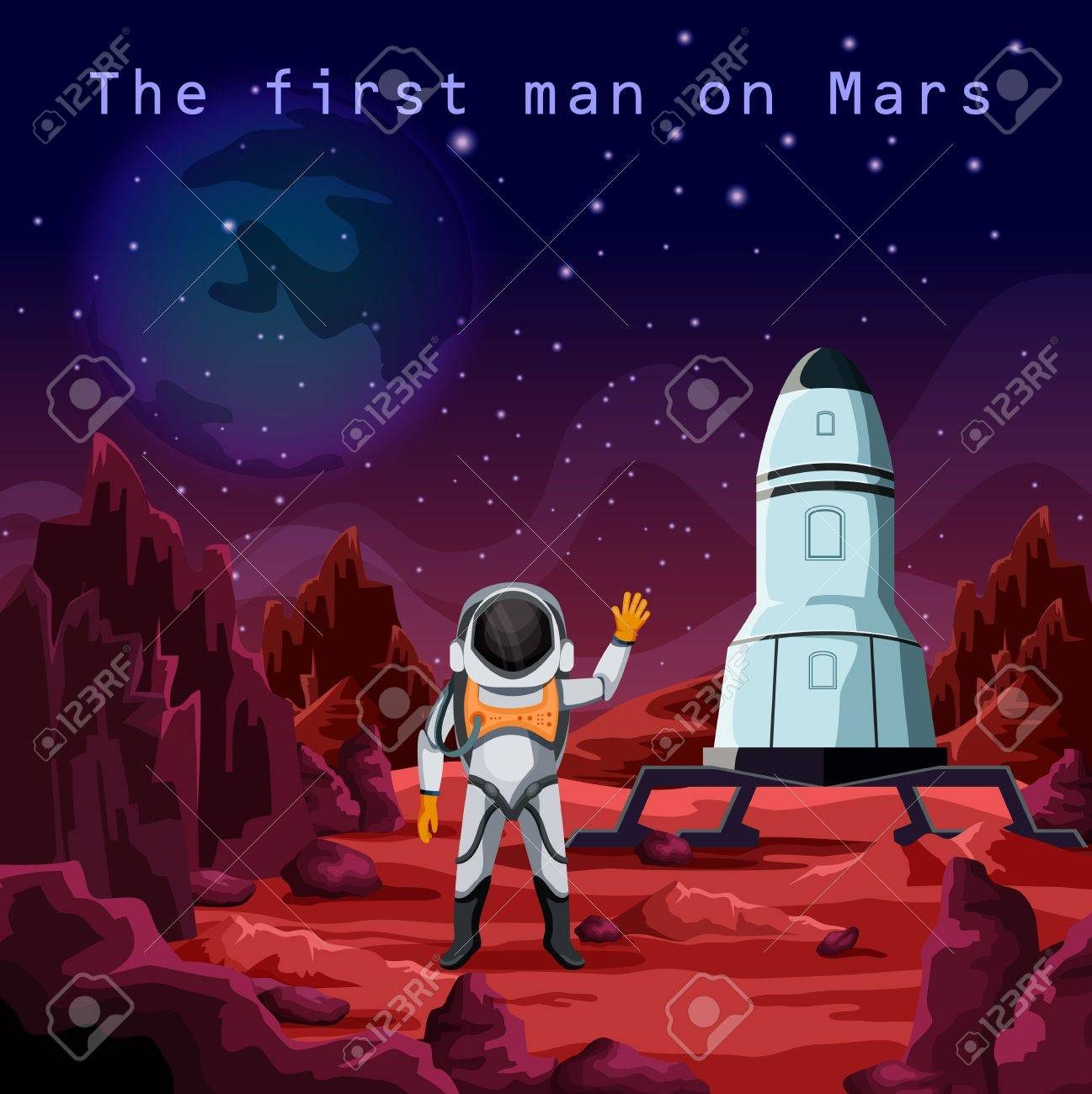 An Astronaut in spacesuit or first man on red planet mars. Human cosmonaut near rocket or spaceship. Cosmos and space exploration and colonization, future mission and science, galaxy theme. - 79241083