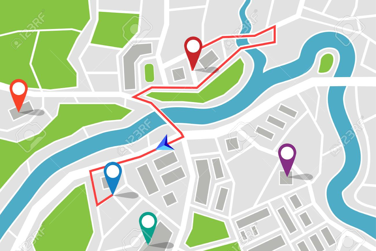Map with route and GPS pointers. - 85726090