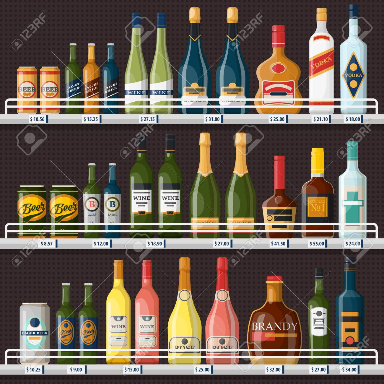 Showcase with alcohol drinks or beverages - 101233025