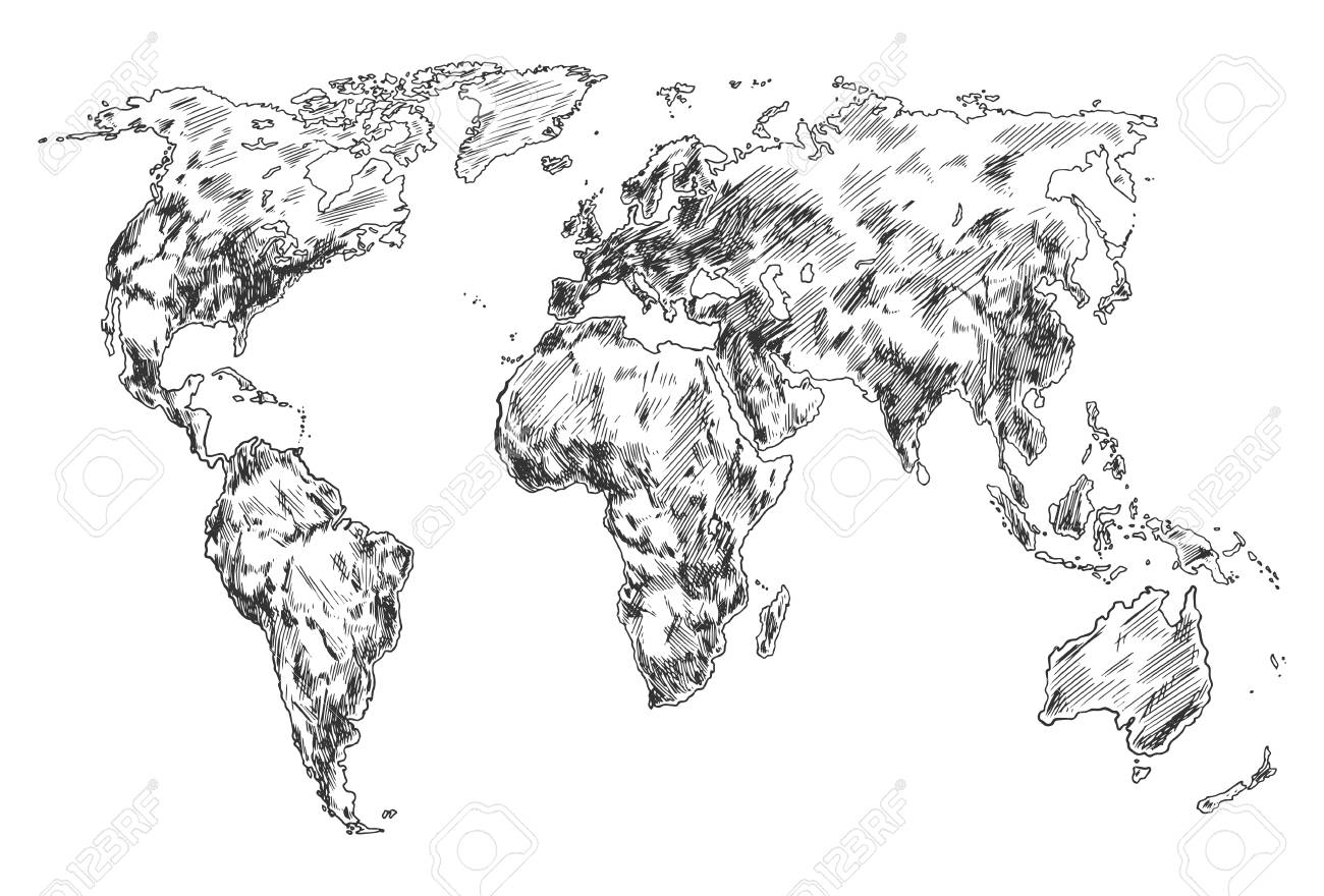 Hand Drawn World Map Sketch Of Planet Earth Atlas North And