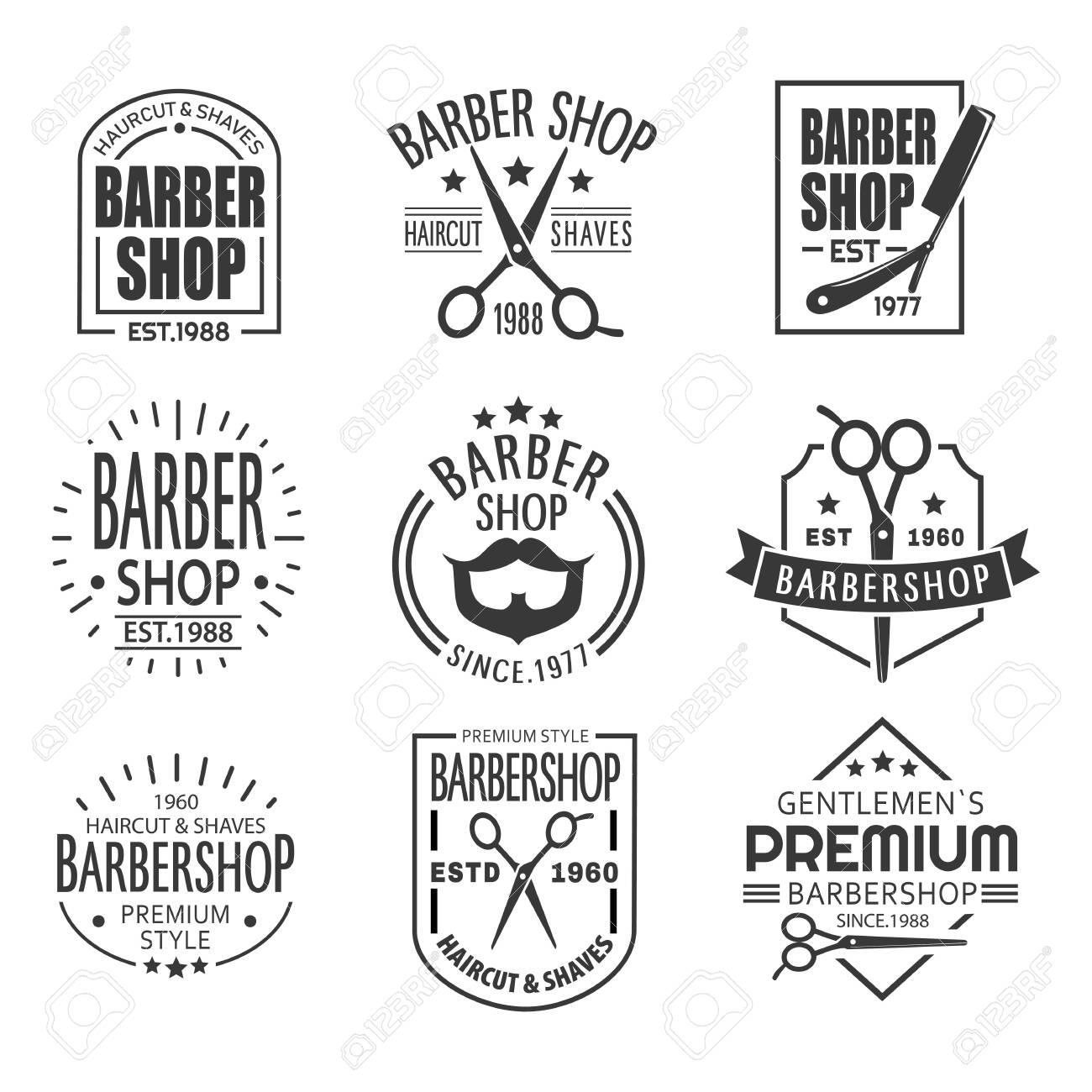 Set of isolated barber shop signboards or vintage barbershop