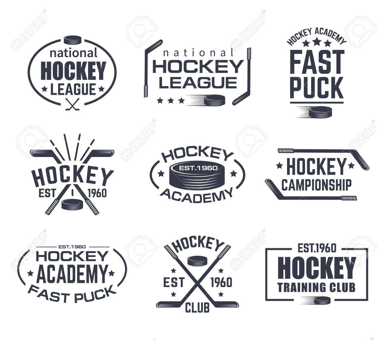 Set of isolated hockey logo with stick and puck. Vintage signs with stars for winter sport. Tournament or training club emblem, national league sign. Branding for clothing or game advertising theme - 121634081
