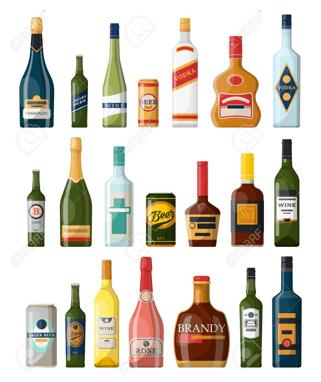 Set of isolated alcohol bottles, booze or beverage, drinks in glassware can. Lager beer and vodka, cognac and rum, wine and champagne, bourbon and brandy, tequila and scotch. Winery and bar theme - 121634459