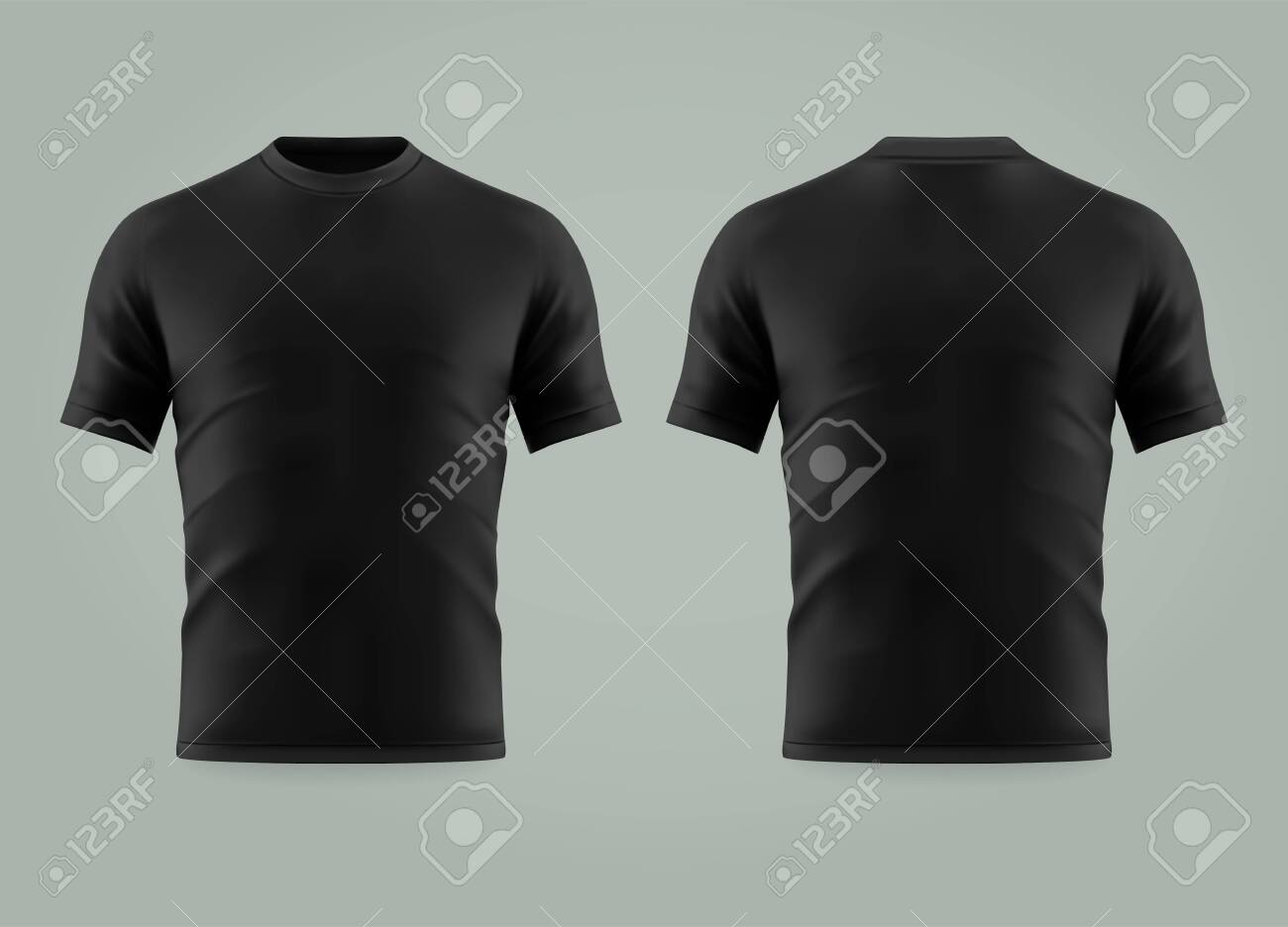 Set of isolated black t-shirt or 3d cloth with short sleeve and u neck. Realistic empty cotton t shirt. Man and woman, male and female blank or empty uniform. Men and women wearing mockup - 124230308